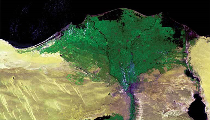 WATER RESOURCES MANAGEMENT. Copyright: ESA/Flemish Institute for Technological Research (VITO). Vegetation is clearly shown in this image of the Nile Delta in Egypt. Technology allows for day-by-day tracking of extreme weather, alerting authorities to crop failures, monitoring inland water resources and tracing the steady spread of deserts and deforestation.