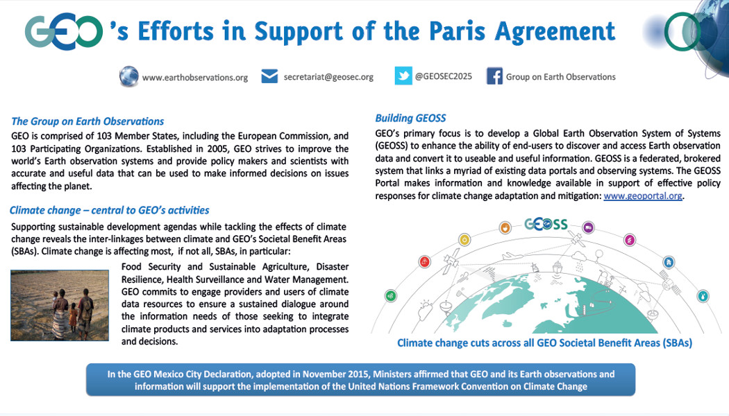 GEO´s Efforts in Support of the Paris Agreement