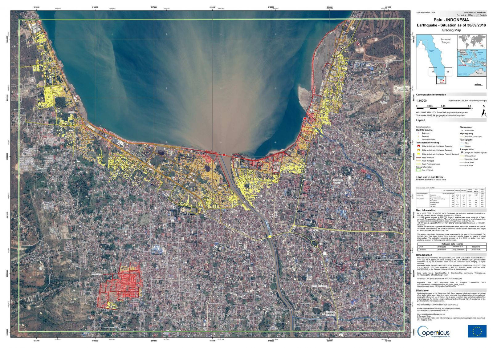 2018 October earthquake and tsunami in Indonesia: grading map of Palu city show that almost over 37,000 people, 10,000 buildings and other infrastructure were affected (Copernicus EMS © 2018 EU, [EMSR317] Palu: Grading Map)