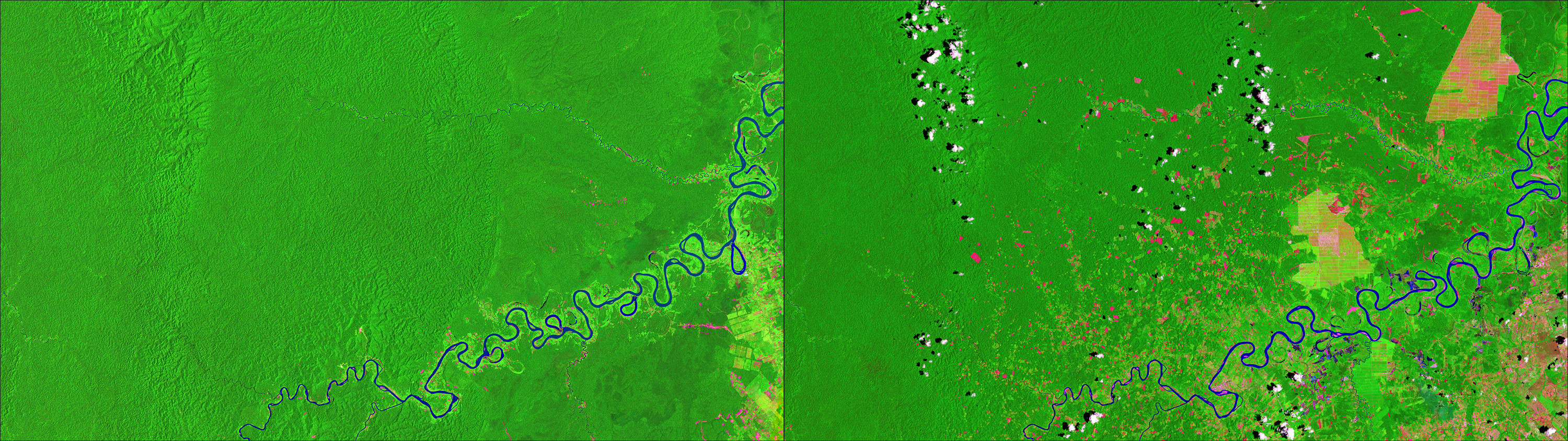 "Photos: Deforestation near Pucallpa, Peruvian Amazon, November 13, 1986 (left) - October 30, 2016 (Right). Source: U.S. Geological Survey (USGS) Landsat Missions Gallery: ""Monitoring Deforestation in the Amazon""; U.S. Department of the Interior / USGS and NASA."