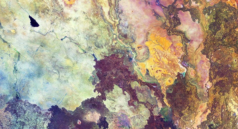 False-colour image of Northern Kenya processed to highlight different types of rock, soil and sand. Contains modified Copernicus Sentinel data (2018), processed by ESA, CC BY-SA 3.0 IGO