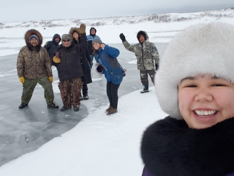 Testing the SIKU (HIKU) app on new river ice in Kugluktuk during an October workshop