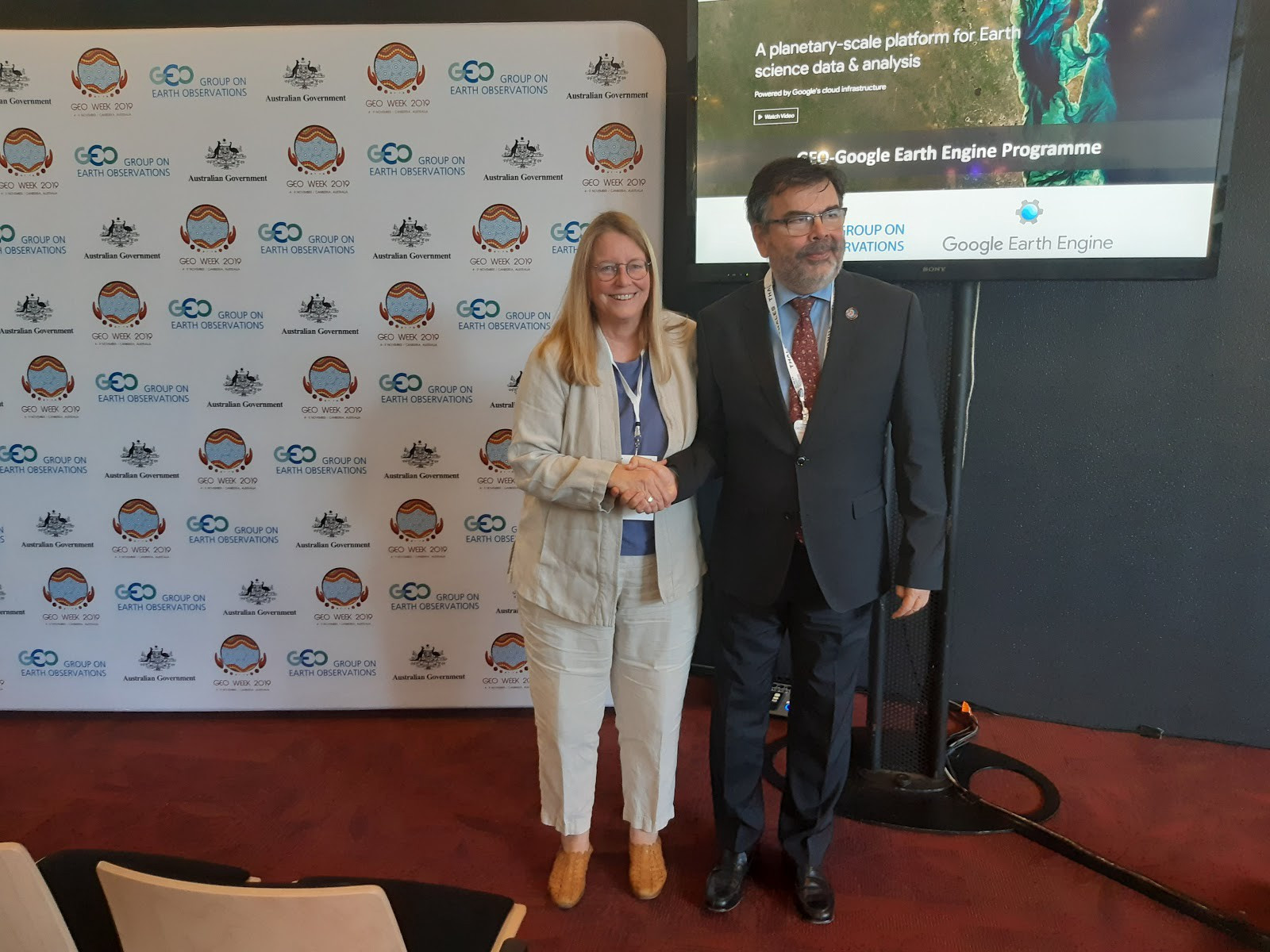 Rebecca Moore, Director of Google Earth Engine, and Gilberto Camara, Director of the Secretariat for GEO, announce the new program providing free access to Earth Engine for selected Earth observation projects during GEO Week 2019 in Australia.