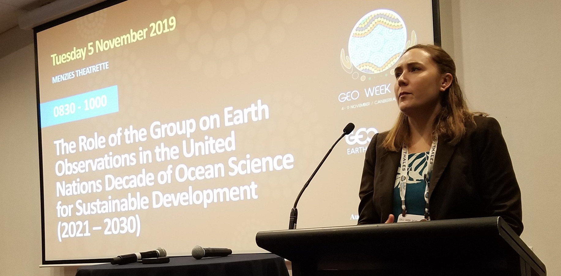 Dr. Emily Smail (GEO Blue Planet/NOAA/UMD) presents ideas for the role of GEO in the UN Decade of Ocean Science for Sustainable Development at GEO Week 2019 side event.