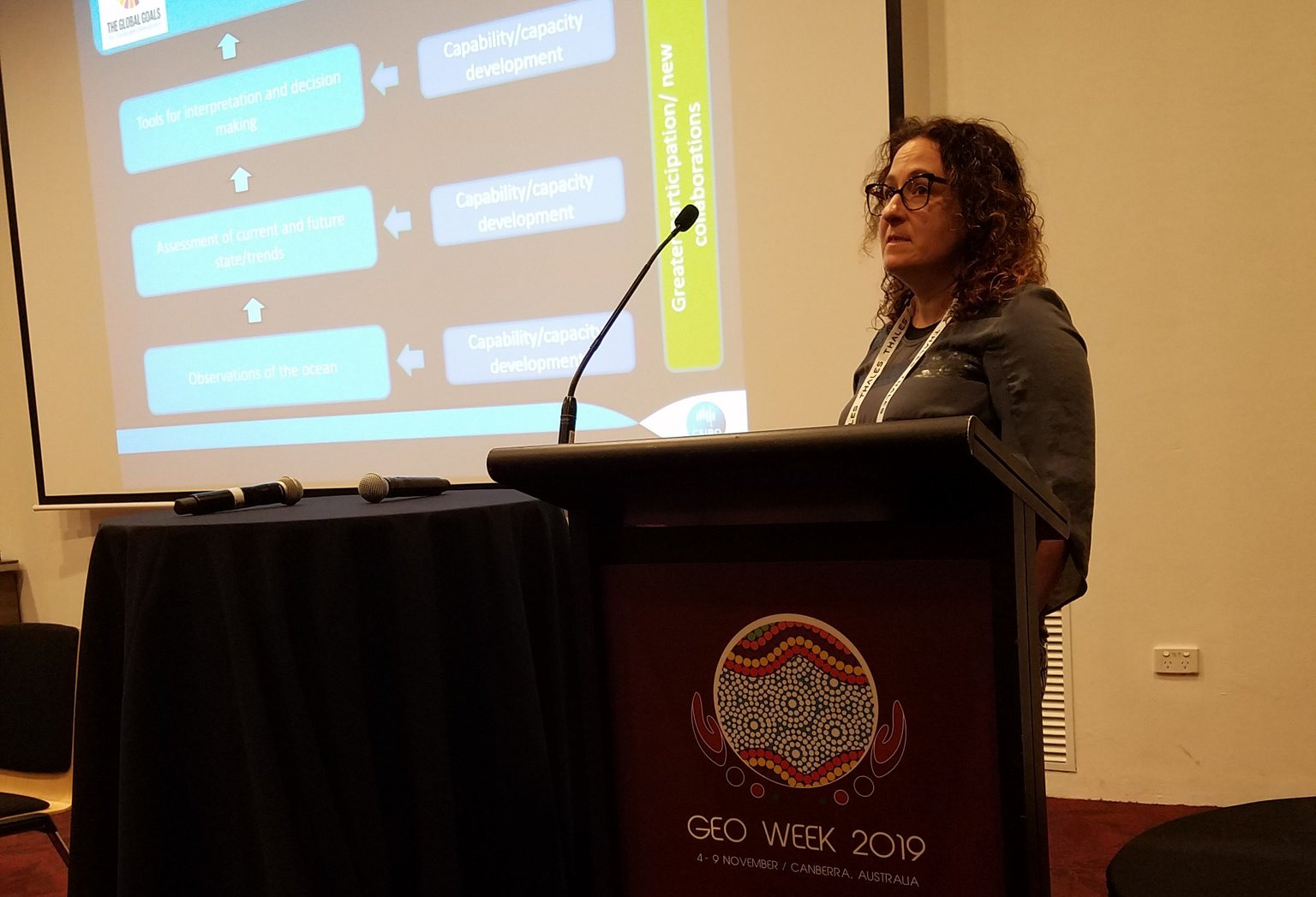 Dr. Karen Evans (CSIRO) presents the UN Decade of Ocean Science for Sustainable Development at the GEO Week 2019 side event.