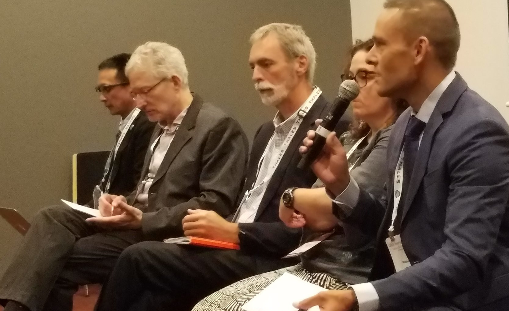Panelists (right to left) Duncan McIntosh. (SPREP), Karen Evans (CSIRO), Nic Bax (CSIRO/MBON), Douglas Cripe (GEO Secretariat) and Ken Ando (JAMSTEC/AOGEO/IOC WESTPAC) discuss how GEO can contribute to the Decade of Ocean Science for Sustainable Development at GEO Week 2019.