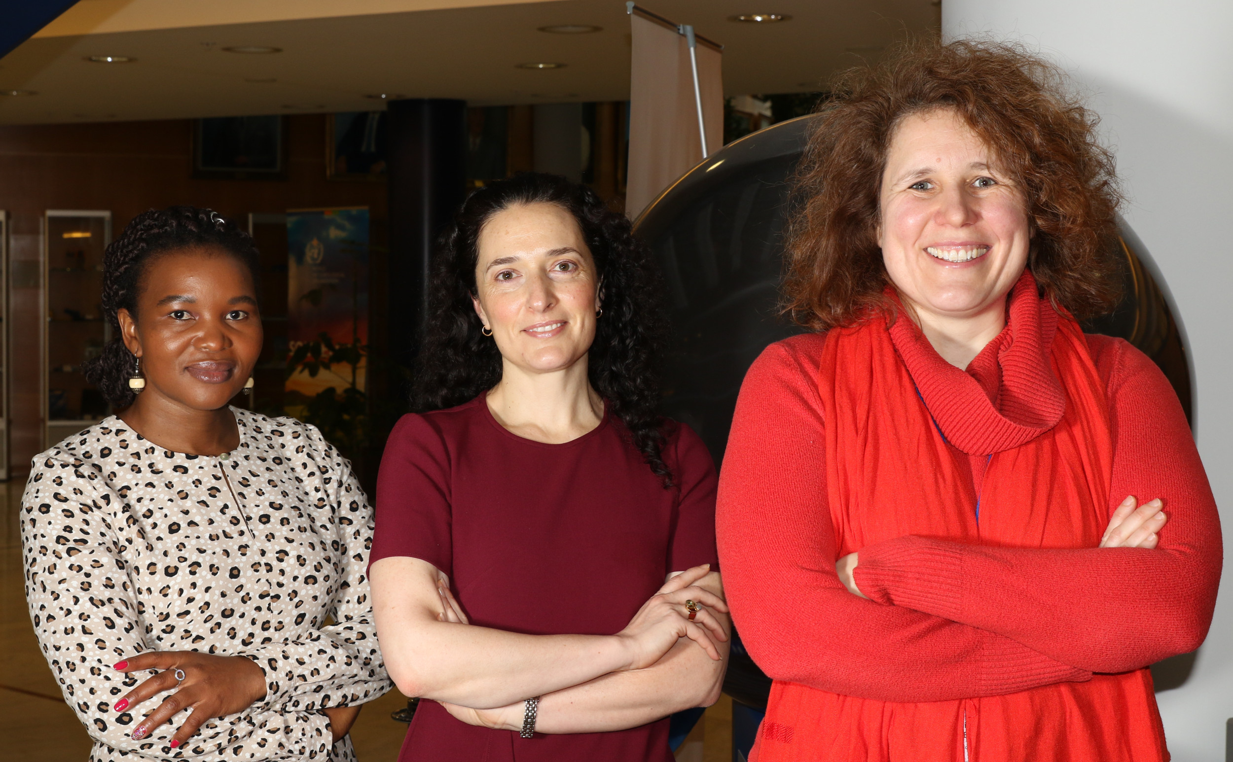 Meet three women leading the vision and strategy of the GEO Programme Board. (From left) Andiswa Mlisa, Yana Gevorgyan, Nathalie Pettorelli discuss their passion for Earth observations.