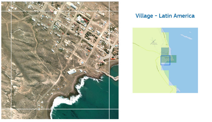 Image shows a village in South America classified as Rural Cluster. Credit CC-BY-SA OpenStreetMap.