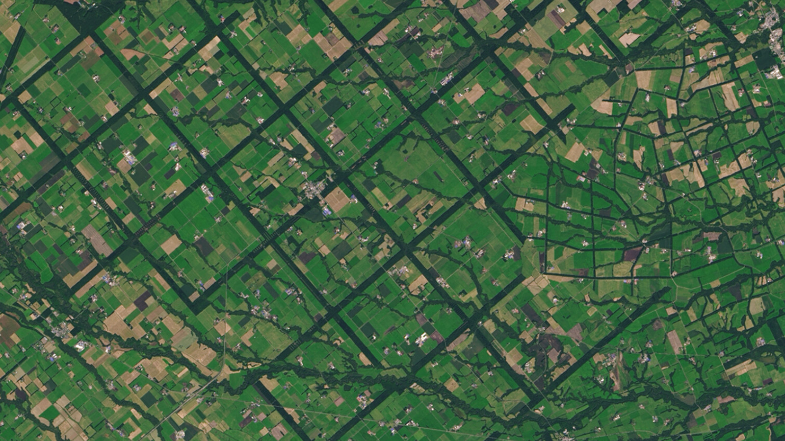 From above, the Konsen Plateau in eastern Hokkaido, Japan offers a remarkable sight: a massive grid that spreads across the rural landscape like a checkerboard. The strips are forested windbreaks—180-meter (590-foot) wide rows of coniferous trees that help shelter grasslands and animals from harsh weather. Image Credit: Operational Land Imager on Landsat 8.
