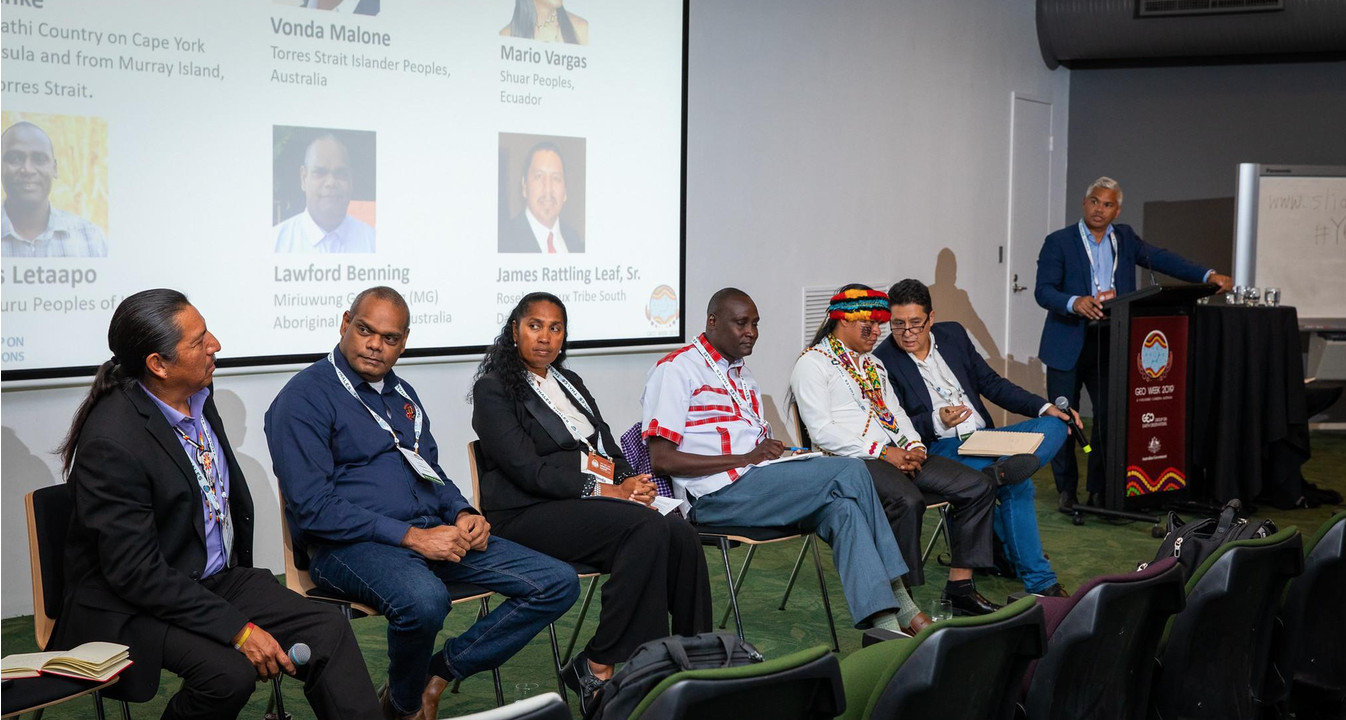 James Rattling Leaf Sr. joins Indigenous leaders from around the world for a panel discussion during GEO Week 2019 in Canberra, Australia.