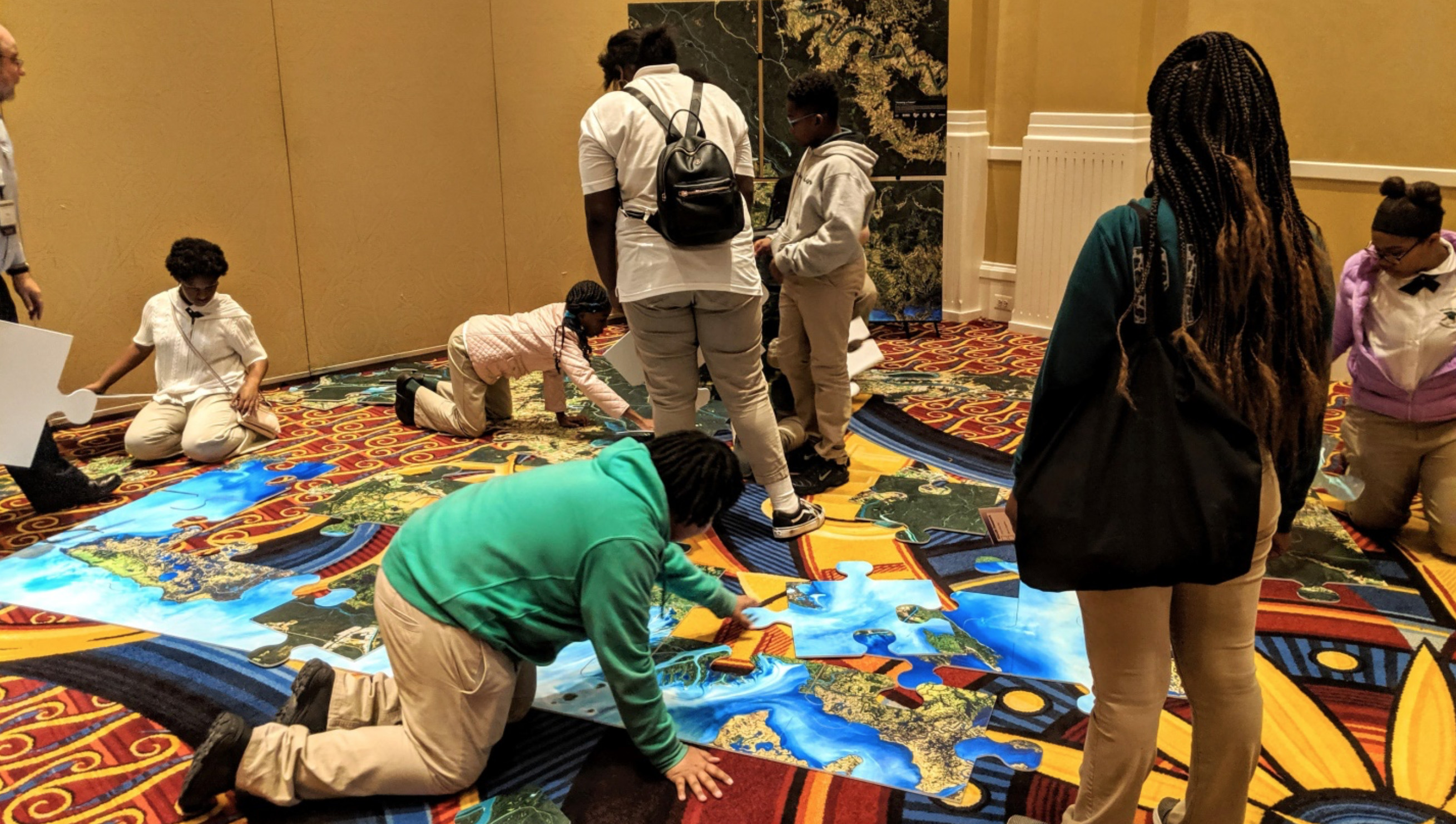 Students participate in the AmericaView Earth Observation Day event at the Pecora 21 / ISRSE 38 in Baltimore, Maryland, USA, October 2019. EOD is an AmericaView Science, Technology, Engineering, Art, and Math (STEAM) program.