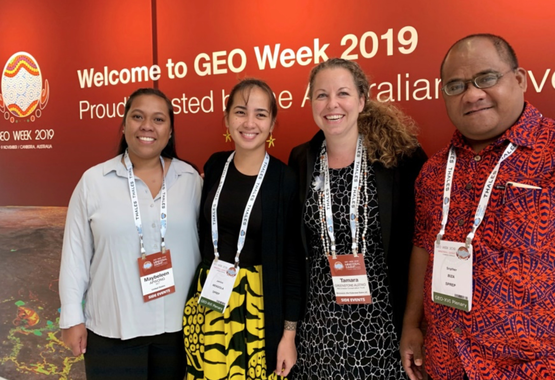 The Micronesia Conservation Trust team at GEO Week in Canberra, Australia in November 2019.