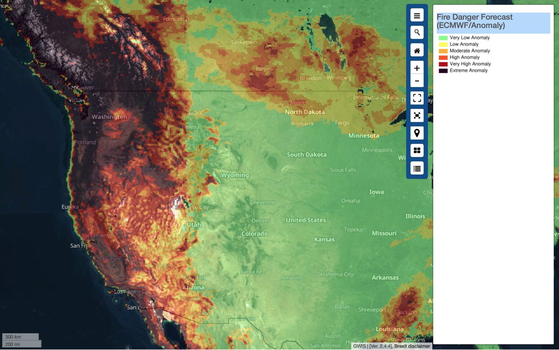 Image shows the anomaly rate and Fire Danger Forecast for wildfires in California and Oregon, USA, from the Global Wildfire Information System (GWIS) on 21 September 2020. Image via Copernicus EU.