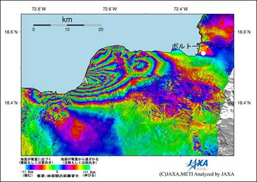 Haiti interferogram map derived from PALSAR satellite data - by JAXA
