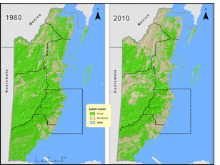 Map of deforestation in Belize: comparison between 1980 and 2010