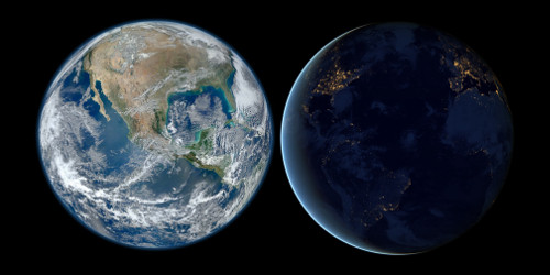 Earth during day time and night time